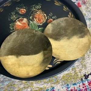Patina Brass Set Candle Holders Vintage Distressed